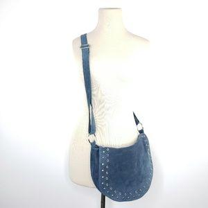 Nine West blue suede crossbody purse